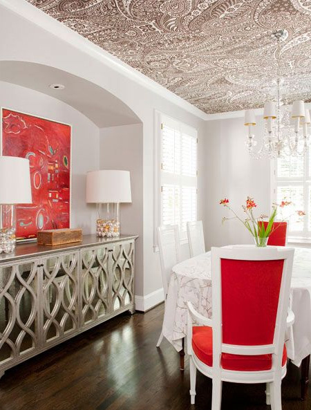 Decorating ideas for a ceiling wallpaper
