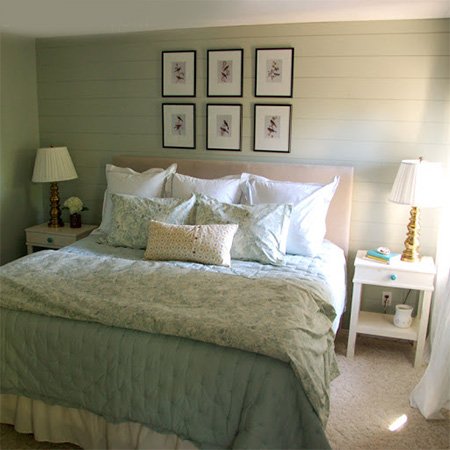 DIY plank wall in a bedroom painted finish