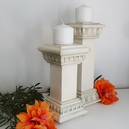 Faux vintage candle holders