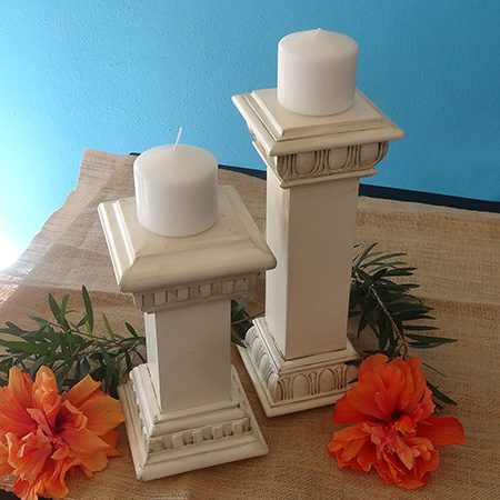 Faux vintage candle holders sprayed with rustoleum 2x heritage white
