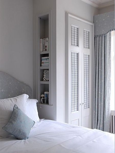 Dress up closet doors with fabric, wallpaper or panelling