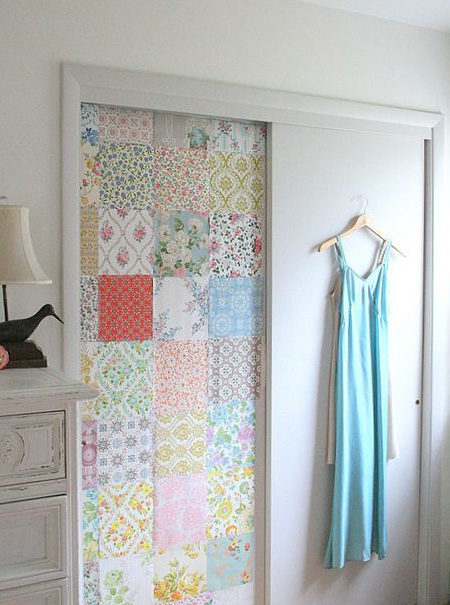 Dress Up Closet Doors With Fabric Wallpaper Or Panelling