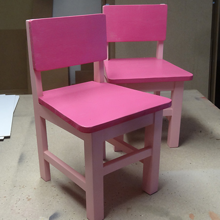 sprayed with Rust-Oleum satin sweet pea and gloss berry pink