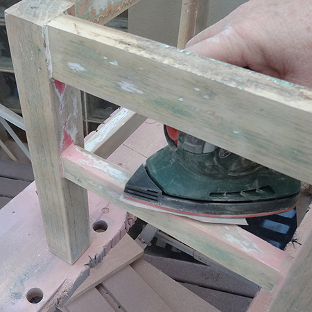 When sanding, don't start in the middle, but rather work from the ends in towards the centre, or along the length to the other end.