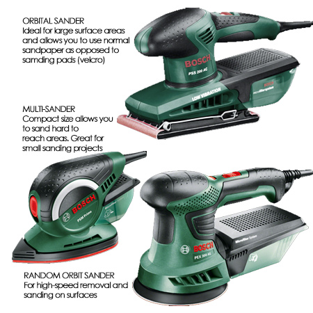 An orbital or random orbit sander will cover large areas and strip away layers of paint without too much effort. For hard to reach places you will need to use a small multi sander like the Bosch PSM Primo or Dremel MultiTool and sanding ring.