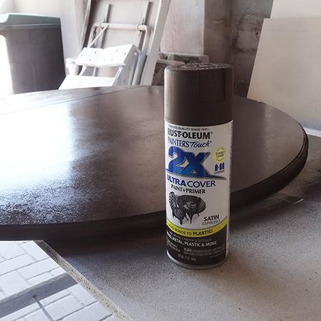 spray table top with rustoleum 2x satin espresso