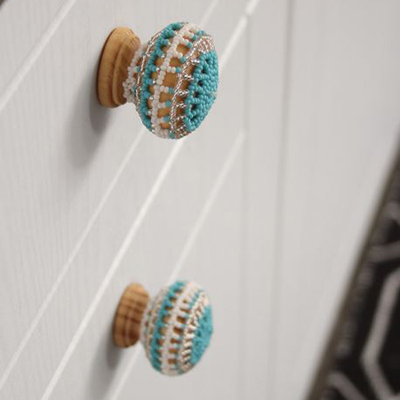 Limited edition beaded knobs add an African spin and a burst of colour to your cabinets and cupboards.