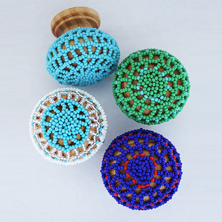 Limited edition beaded knobs add an African spin and a burst of colour to your cupboards.