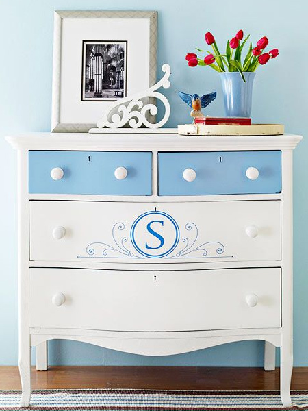 Step out of the box a little if you want to paint a piece of furniture with eye-catching appea