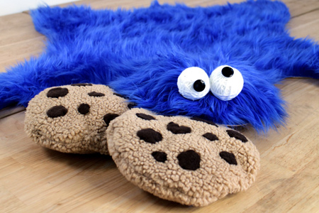 cookie monster rug or play mat and cookie pillows