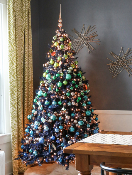 christmas tree decorated with colourful baubles
