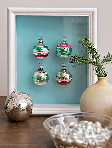 mount old baubles in picture frames for festive display