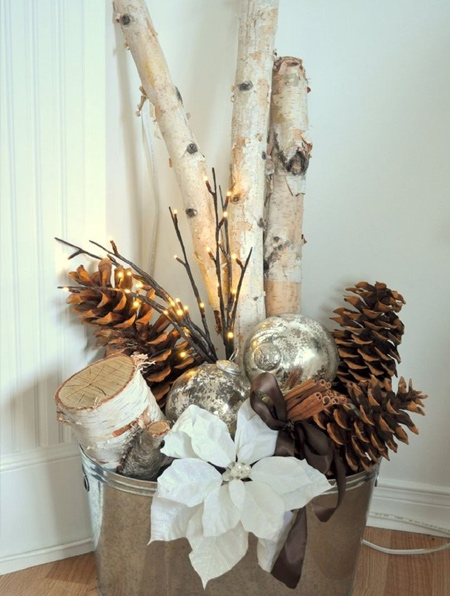 rustic display for the festive season using old baubles