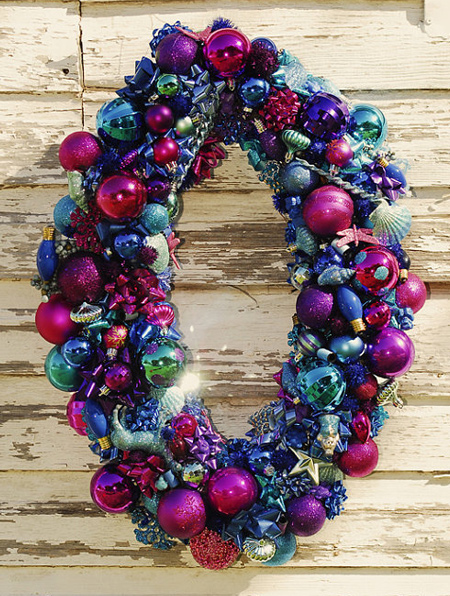old baubles can be used to make a festive wreath