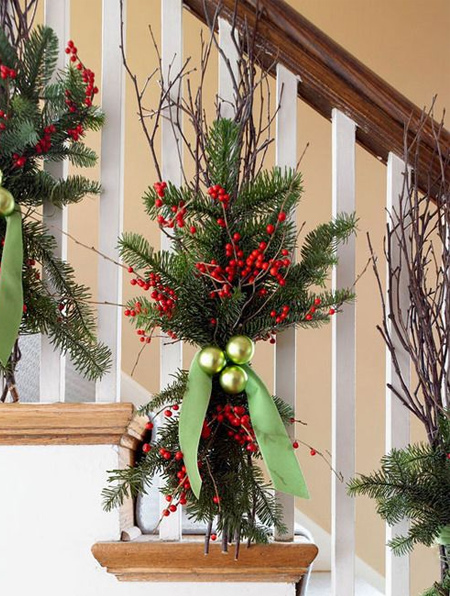 old baubles add festive flair to staircase decorations