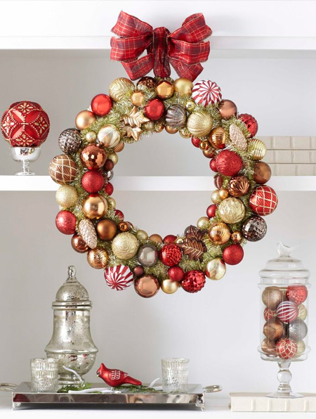 old ornament baubles into festive wreath