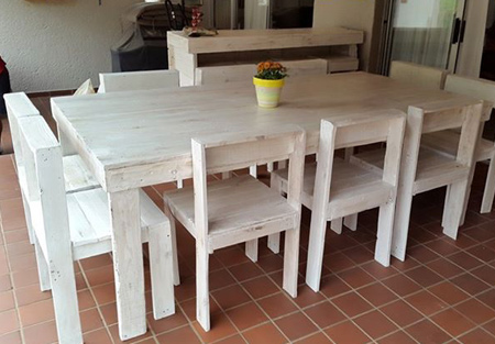 Jamie Foster of Pallet Works uses reclaimed pallets to make custom dining tables and chairs for indoors and outdoors.