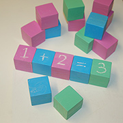 Educational blocks with chalkboard spray paint