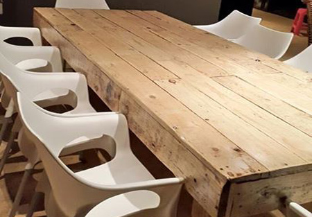 Mix It Up With A Reclaimed Pallet Dining Table And Rigid Plastic Steel Chairs