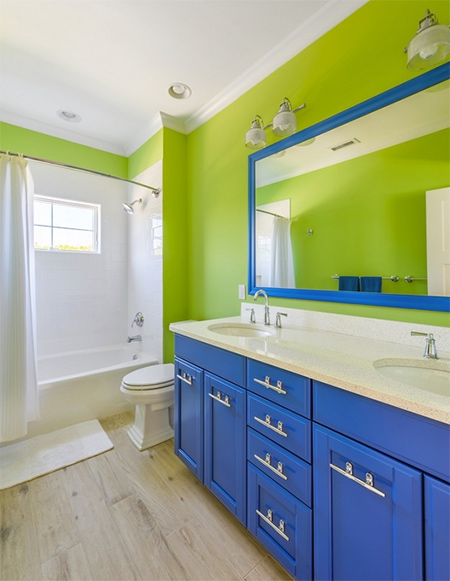 colourful bathroom walls