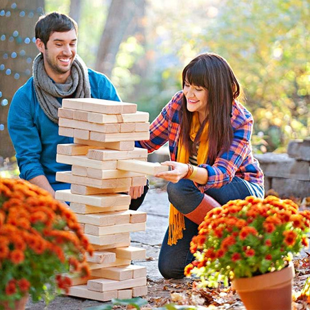 DIY giant jenga game for outdoors