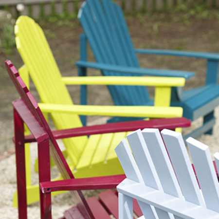 Add colour to your outdoor furniture with a can or two of Rust-Oleum Universal spray paint. You can use Rust-Oleum spray paints on wood, plastic or steel furniture to give them a new look!