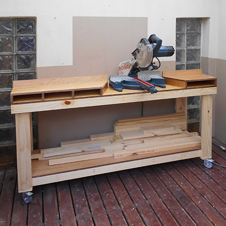 home dzine home diy diy mobile workbench for mitre saw