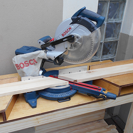 bosch mitre saw to cut 45-degree angles for framed bathroom mirror