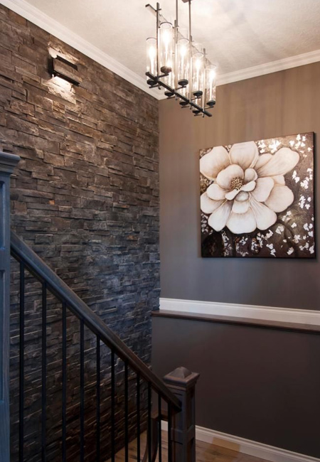 Natural stone wall cladding creates a 3-dimensional wall effect