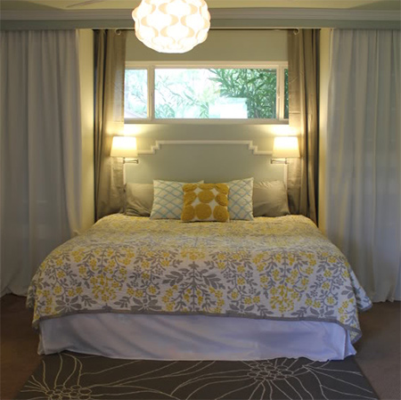 Home dzine bedrooms make the bed a feature with pine trim for Small bedroom no windows