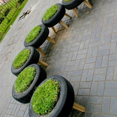 More ideas for using old tyres outdoors in the garden for seating