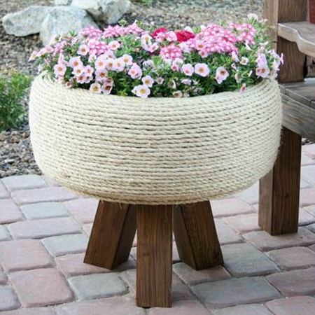 ideas for using old tyres outdoors in the garden