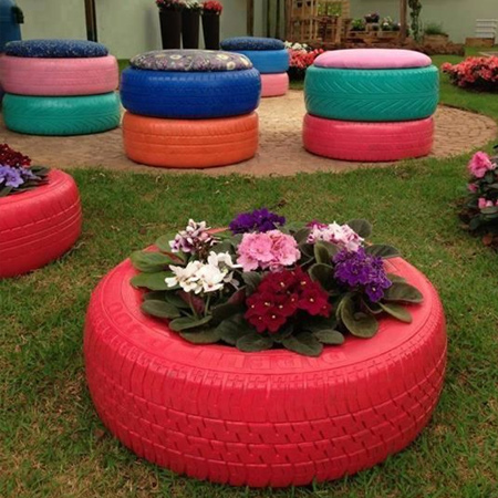 More ideas for using old tyres in the garden
