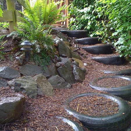 ideas for using old tyres outdoors in the garden for steps
