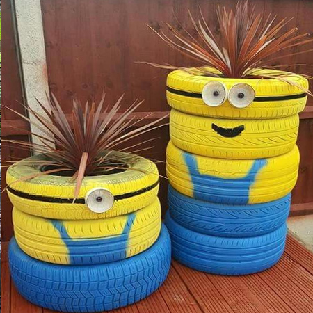 More Ideas For Using Old Tyres Outdoors In The Garden Minions