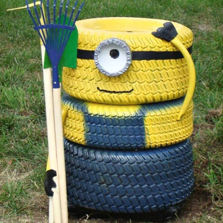 ideas for using old tyres outdoors in the garden for minions