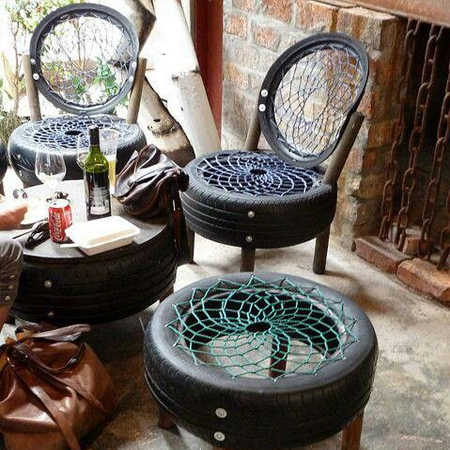 ideas for using old tyres outdoors in the garden for seating