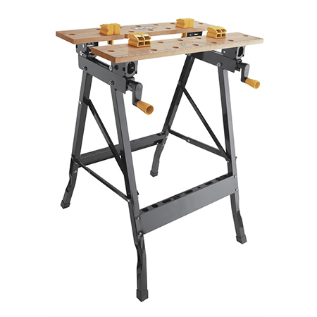An inexpensive fold-up work bench will set you back about R300 and will take up hardly any space in a garage or shed.