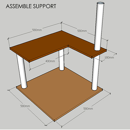 1. Use a jigsaw to cut out the platform as shown above.
