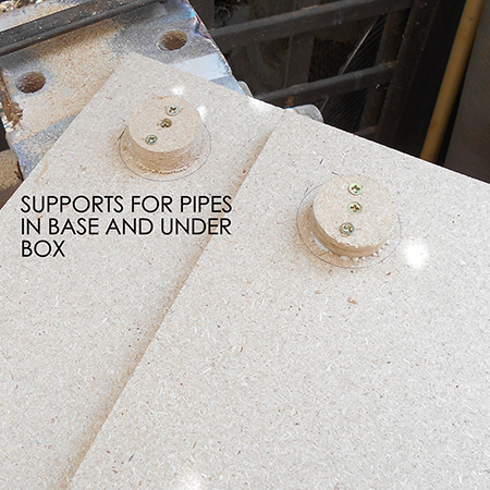 3. Draw a line 30mm in from the sides and use a piece of PVC pipe to draw within this guide for mounting the plugs onto the base and underside of the platform. Centre the plugs and use wood glue and a couple of screws to secure in place.