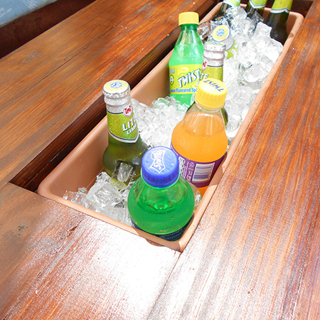 The rectangular, plastic plant containers are perfect as ice boxes for your summer refreshments outdoors on the patio or by the pool
