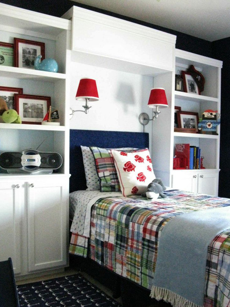 Home dzine bedrooms storage ideas around the headboard - Toddler bedroom ideas for small rooms ...