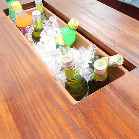 diy make outdoor patio table with cooler box
