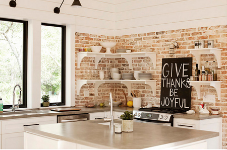 Kitchen decorated in muted or neutral hues