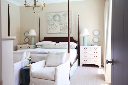 bedroom in muted or neutral shades