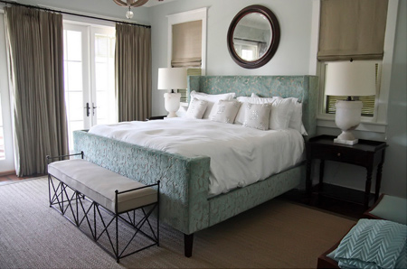 bedrooms in muted teal and taupe or neutral hues