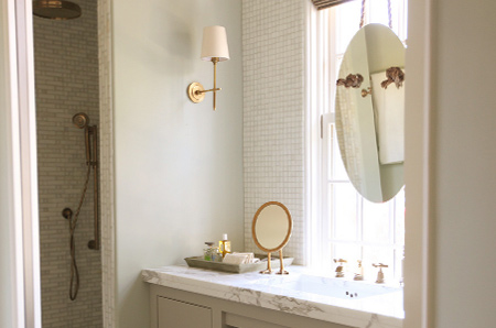 bathroom in muted or neutral hues