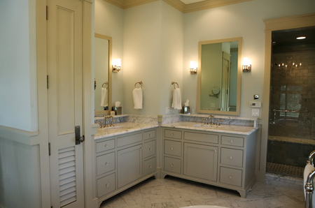 bathroom in muted or neutral shades