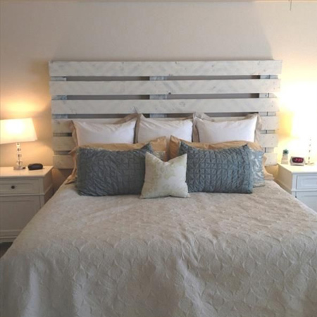 Diy Headboard With Pine Panels Whitewashed