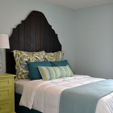 diy headboard with pine panels with dark stain